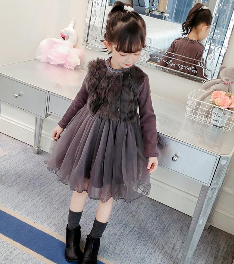 Bébé filles Plus velours robe vêtements pour enfants lapin couture robe à manches longues mignon enfants vêtements 2019 nouvelle robe chaude Y139 - 4