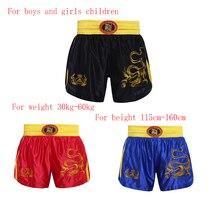 Используется для мальчиков и девочек учебной Шорты ММА Боксерские Шорты SANDA Muay Thai Штаны с вышитым драконом укороченные штаны