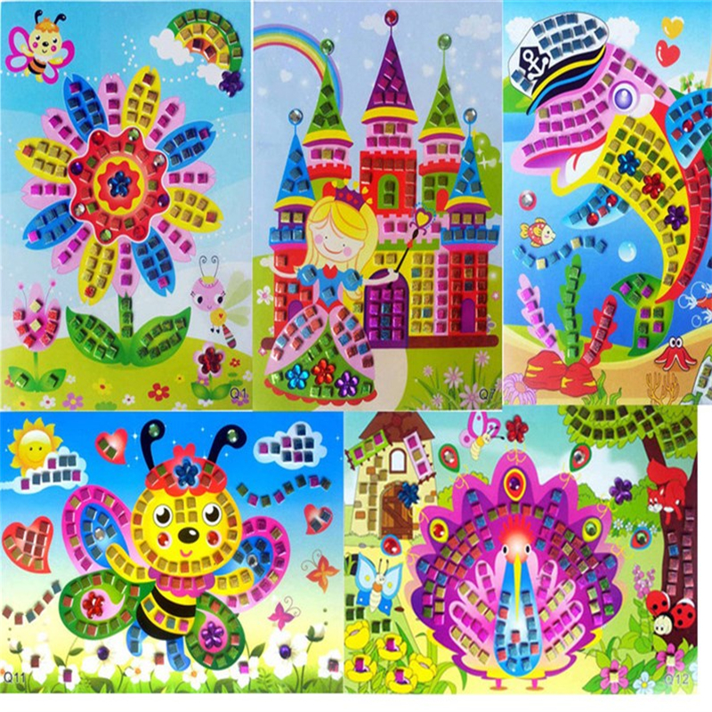 1pc Cartoon Mosaic Stickers Puzzle Glitter Kindergarten Baby Education DIY Art