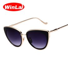 Winla Fahion Brand Designer Ladies Sunglasses Metal Cat eye Sunglasses Woman Super Mirror Sunglasses Cat Eye Style Oculos W2278