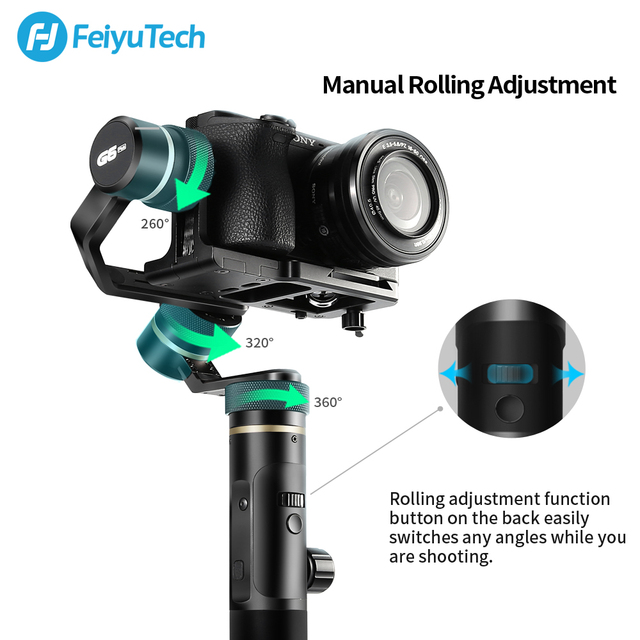 FeiyuTech G6 Plus 3-Axis G6P Handheld Gimbal Stabilizer for Mirrorless Camera GoPro Smart phone Payload 800g Feiyu G6P