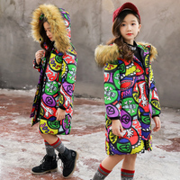 Teenage Girls 2018 New Black Red Thick Coat Winter Wear Costume For Size 6 7 8 9 10 11 12 13 14 Years Child Casual Down Jacket