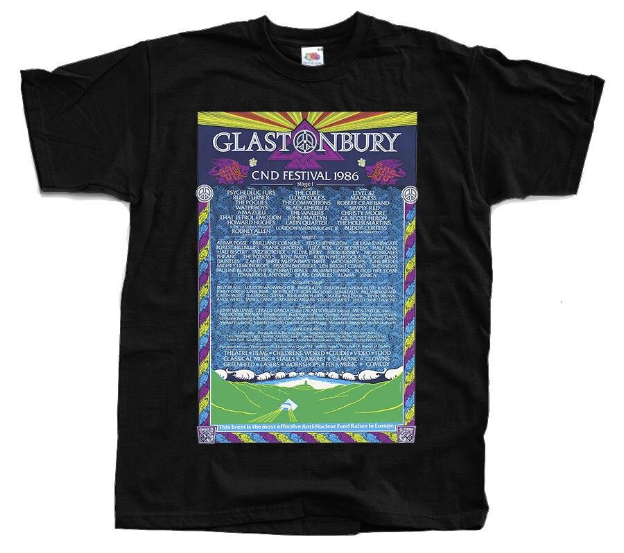 Glastonbury plakat Cnd festiwal 1986 leczyć T Shirt czarny S 3Xl T Shirt topy lato fajne zabawny top Tee Plus rozmiar