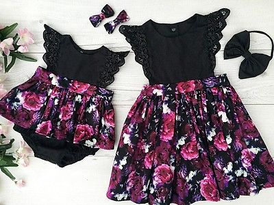 2pcs Toddelr Kid Baby Girl Sister Matching lace Floral petal sleeve o-neck Romper Dress Outfits +black bow headband Set A 3pcs set newborn infant baby boy girl clothes 2017 summer short sleeve leopard floral romper bodysuit headband shoes outfits