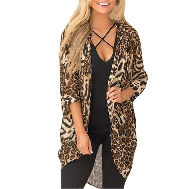 6aa73a07c4 Women Casual Blouse Leopard Print Long Sleeve Refined Knit Cardigan Kimono  2018 New Arrival Concise Fashion Women s loose Tops