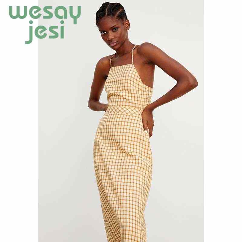 2019 여름 노란색 격자 무늬 드레스 빈티지 비치 Boho 오픈 다시 드레스 Streetwear 스파게티 스트랩 스퀘어 넥 섹시한 파티 여성 드레스