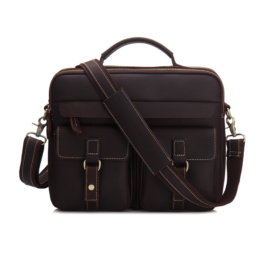 YISHEN Fashion Vintage Men Briefcase Crazy Horse Genuine Leather Personality Men Handbags Totes Big Retro Shoulder Bags MS3905