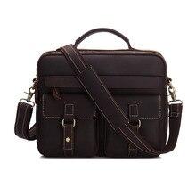 YISHEN Fashion Vintage Men Briefcase Crazy Horse Genuine Leather Personality Men Handbags Totes Big Retro Shoulder Bags MS3905