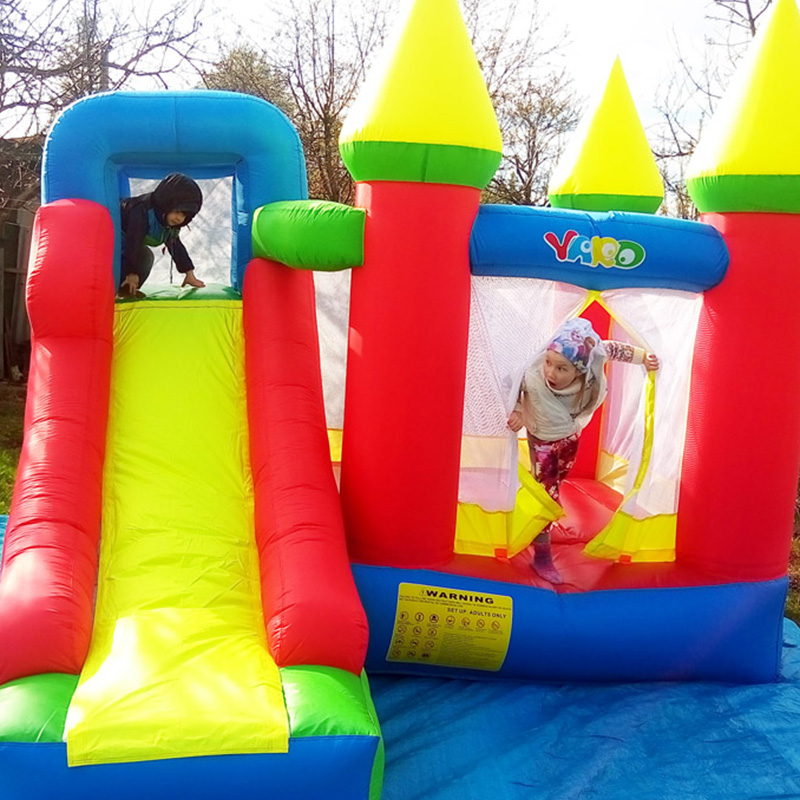 Residential bounce house bouncy castle combo slide inflatable bouncer for kids tropical inflatable bounce house pvc tarpaulin material bouncy castle with slide and ball pool inflatbale bouncy castle