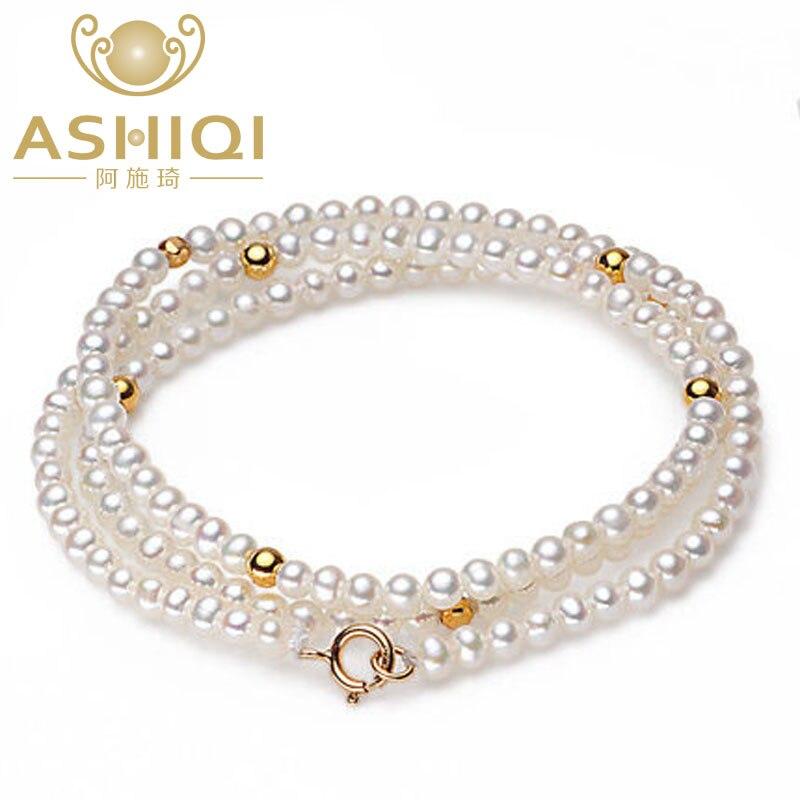 ASHIQ Real mini 3mm petits colliers de perles d'eau douce blanches naturelles, bijoux en argent Sterling 925 pour les femmes
