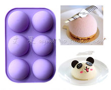 Cute 6 hole the large domed DIY silicone cake mold soap mold Jelly pudding silicone chocolate molds(China)