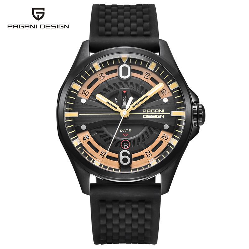 PAGANI DESIGN Fashion Black Silicone Men's Watch Luxury Skeleton Dial Japanese Quartz Auto Date Week Man Wristwatches PD 1626