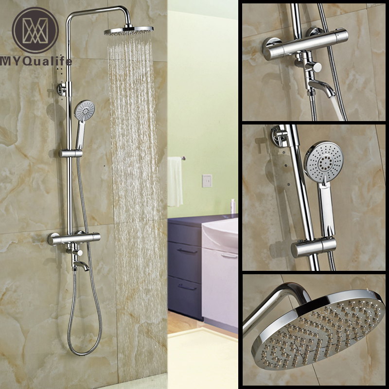 2016 Newly Wall Mount 8 Rainfall Shower Faucet Set Dual Handle Thermostatic Mixer Bath Tub Shower Mixer Taps wall mount thermostatic shower faucet mixers chrome dual handle bathroom hand held bath shower taps