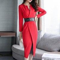 Spring Autumn Office Dress Suits Women Business Wear For Lady Elegant Belt Long Jacket Lace Dress Suit Set Party Formal Clothes