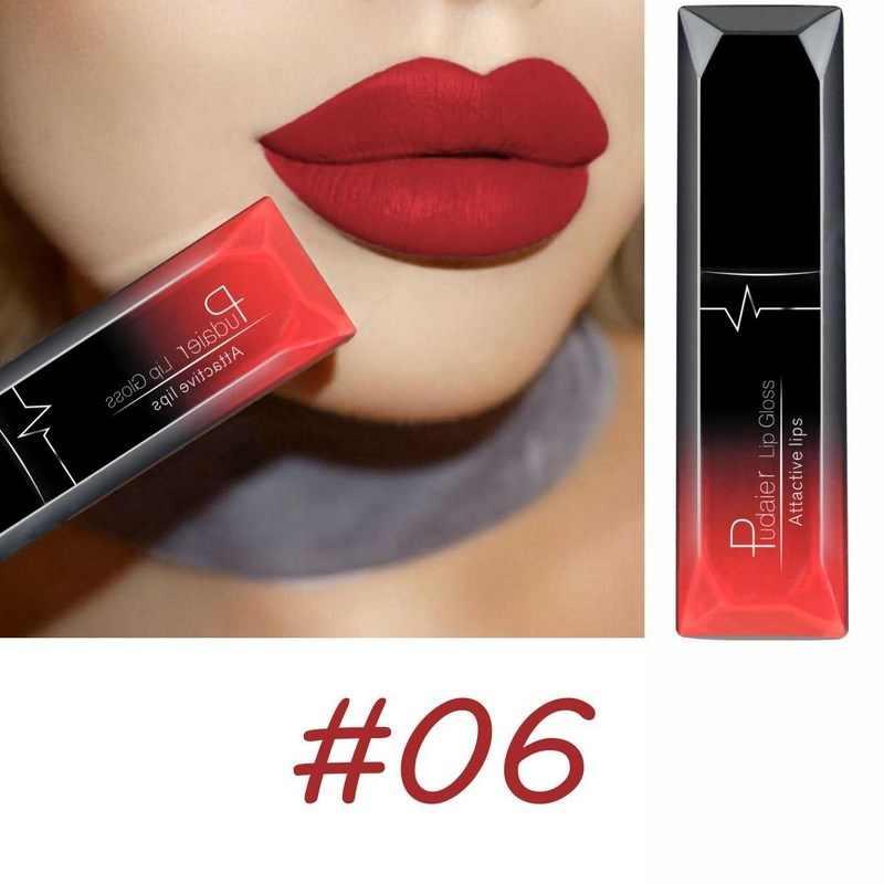 PUDAIER עירום שפתון סקסי מתכתי פיגמנט מט ליפ גלוס לאורך זמן שפתון נוזלי איפור אופנה נשים מתנה
