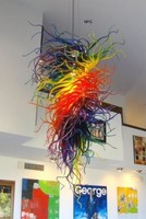 Modern Large Chandelier Whirled Shape Colorful Artistic Decoration Luxury Chihuly Style Murano Glass Chandelier