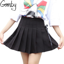 eb5a53f4d90e Harajuku Women Summer College Wind Student High Waist Solid Color Ribbon  Skirt Cute Girls Chic Leisure