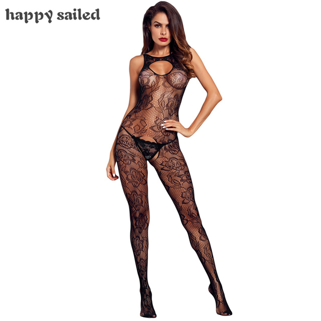 84670ba54 Happy Sailed Sexy Lingerie Transparent Black Sleeveless Crotch Flower  Embroidery Body Stocking LC790026 Erotic Underwear