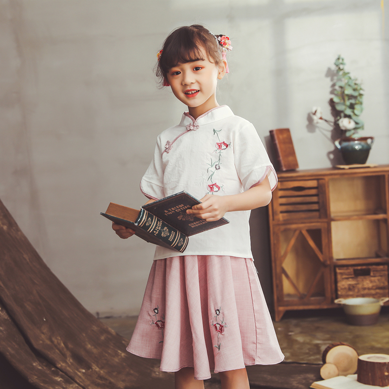 Lovely Girls Cheong-sam 2PC Chinese Traditional Han Fu Baby Retro Dress Summer Casual Dresses Children Perform Dress