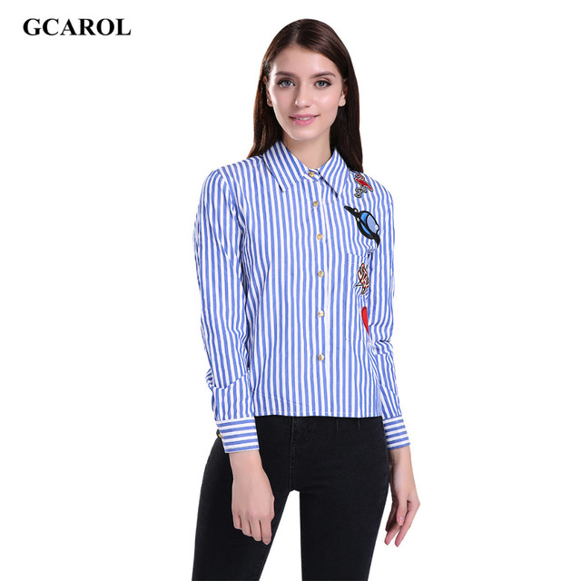 Women New Arrival Appliques Patch Patch Blouse OL Fashion Verticl Striped Shirt Elegant Tops For 4 Season
