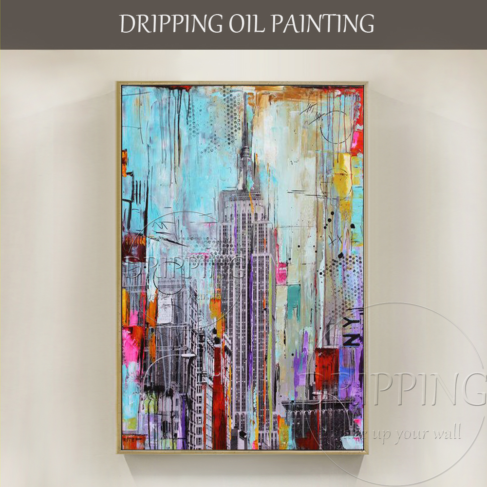 Professional Artist Hand-painted Modern Abstract Urban New York Oil Painting on Canvas New York City Skyscraper Oil Painting ...