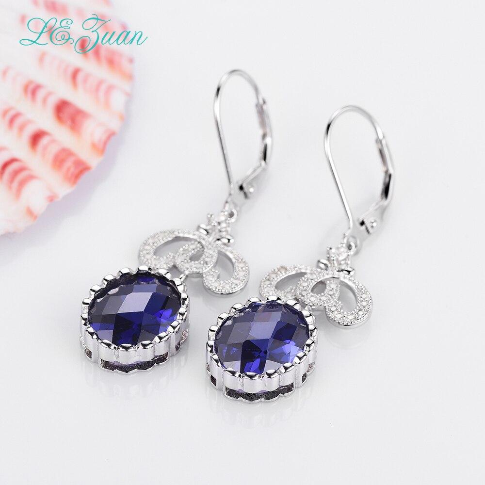 цена на I&zuan 100% 925 Sterling Silver Jewelry Drop Earrings Prong Setting 9.64ct Blue Stone Trendiest Earrings For Women