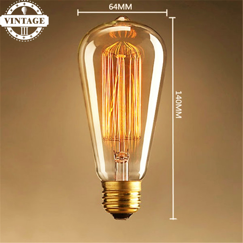 Ligthinbox ST64 Antique Retro Vintage E27 40W 60W 220V Edison Light Bulb Incandescent Light Squirrel-cage Led Filament Bulb