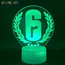Home Decoration Crafts Rainbow Six Siege Night Light LED Touch Sensor 7 Color Changing Child Kids Gift Game Table Lamp Rainbow 6 цена
