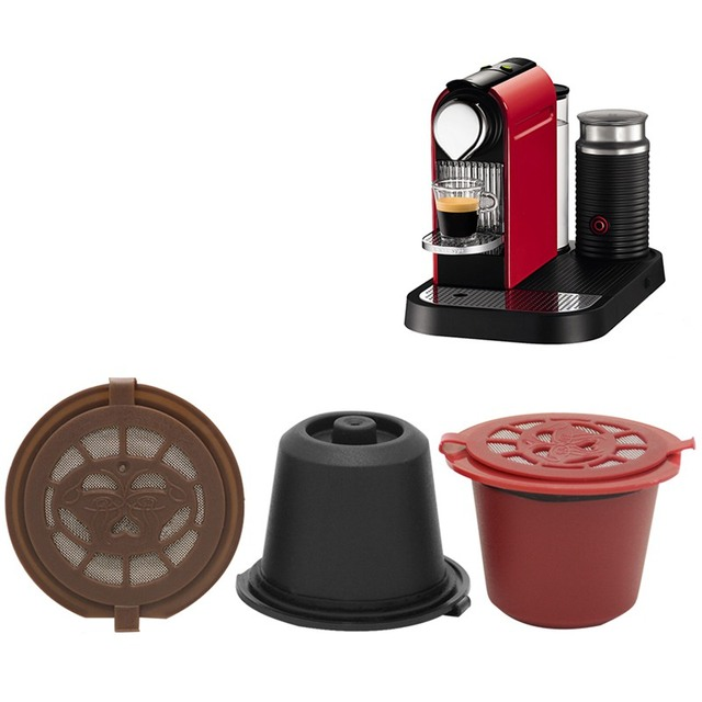 3PCS/Set Reusable Refillable Nespresso Coffee Capsule With Plastic Spoon Filter Pod and Brush 20ML Filters Kitchen Dining Bar 2