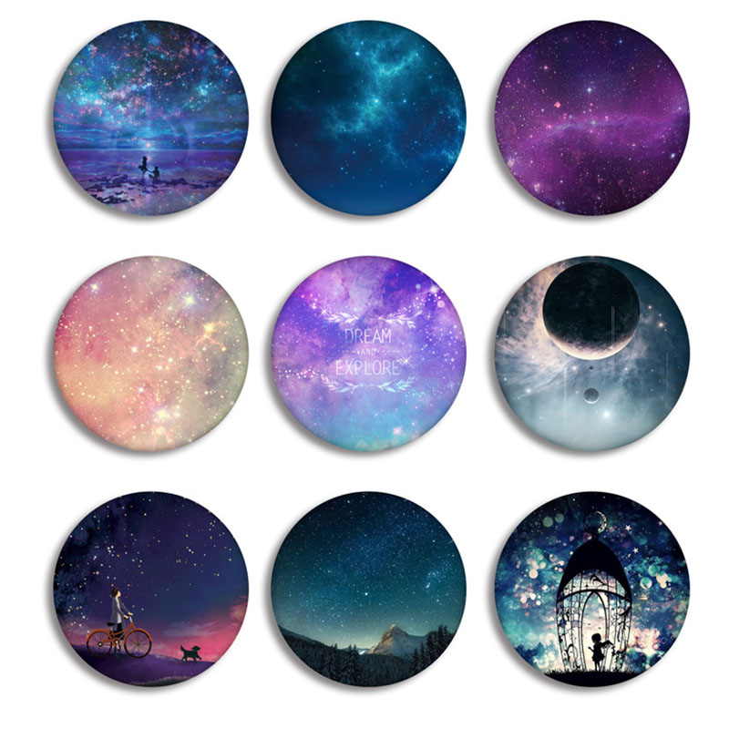 Anime Dream Explore Cosplay Badge Fashion Cartoon Romantic Round Shape Starry Night Sky Brooches Pin Jewelry Clothes Decoration