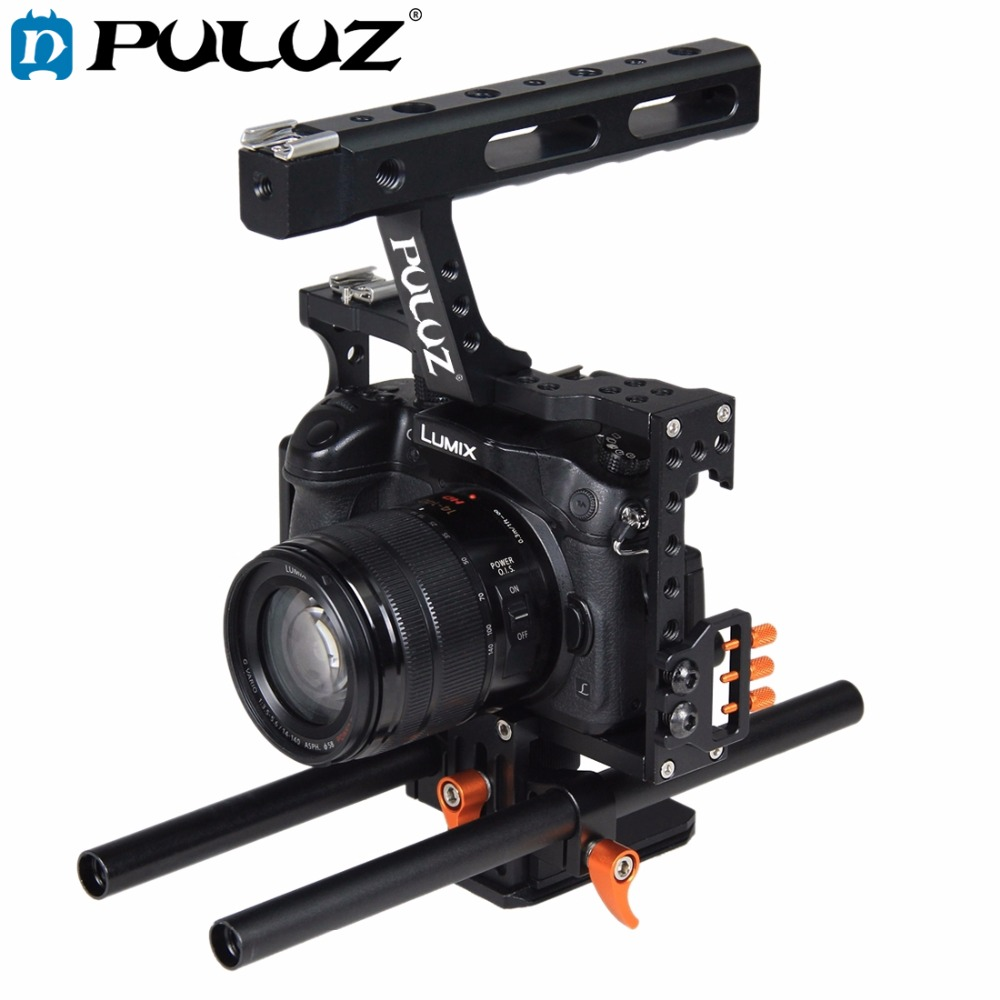 PULUZ Rod Rig DSLR Camera Video Cage Kit Stabilizer+Top Handle Grip for Sony A7 A7S A7R A7R II A7S II Panasonic Lumix DMC-GH4 digitalfoto tilta a7 professional dslr camera rig cage with baseplate wooden handle top handle for sony a7 a7s a7s2 a7r a7r2