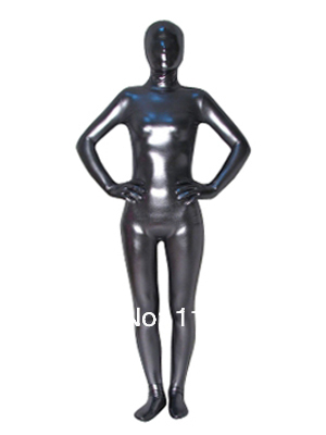 Dark Silver Zentai Shiny Metallic Full Body Tights