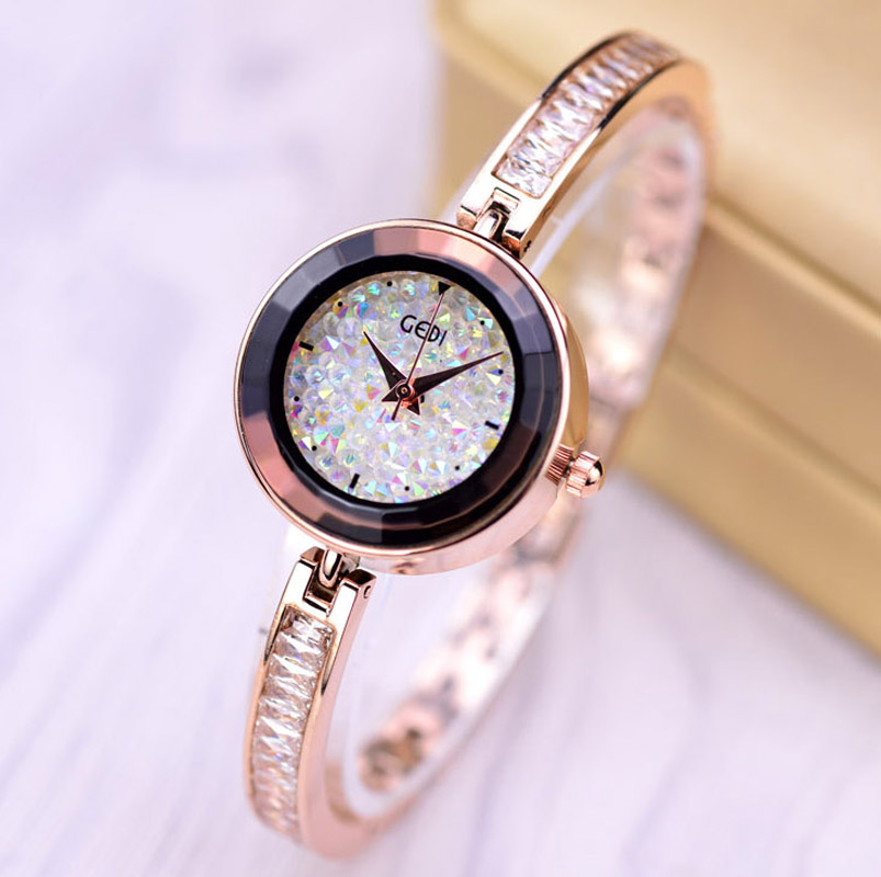 GEDI Fashion Bracelet Rose Gold Watches Women Luxury Brand Quartz Watch Ladies Colorful Diamond Watches Relogio Feminino XFCS ein gedi resort 4 мертвое море