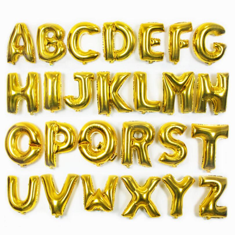 16 inch Gold A--Z Optional Letter Balloon Aluminum Foil Helium Balloons Birthday Wedding Party Decoration Celebration Supplies