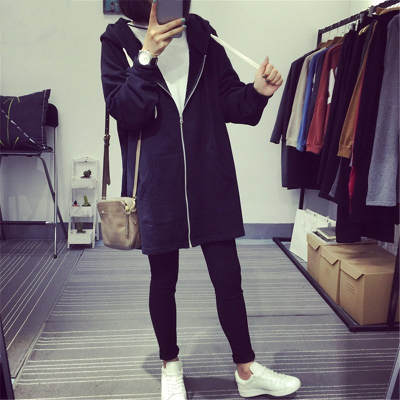 2018 New Women Hooded Long Cardigans Autumn Loose Long Sleeve Casual   Trench   Feminino Packets Black Gray Coats