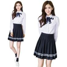 School Uniform Suit Lovers College Girls High School Students Uniform Japanese Sailor Suit Pleated Skirt цены онлайн
