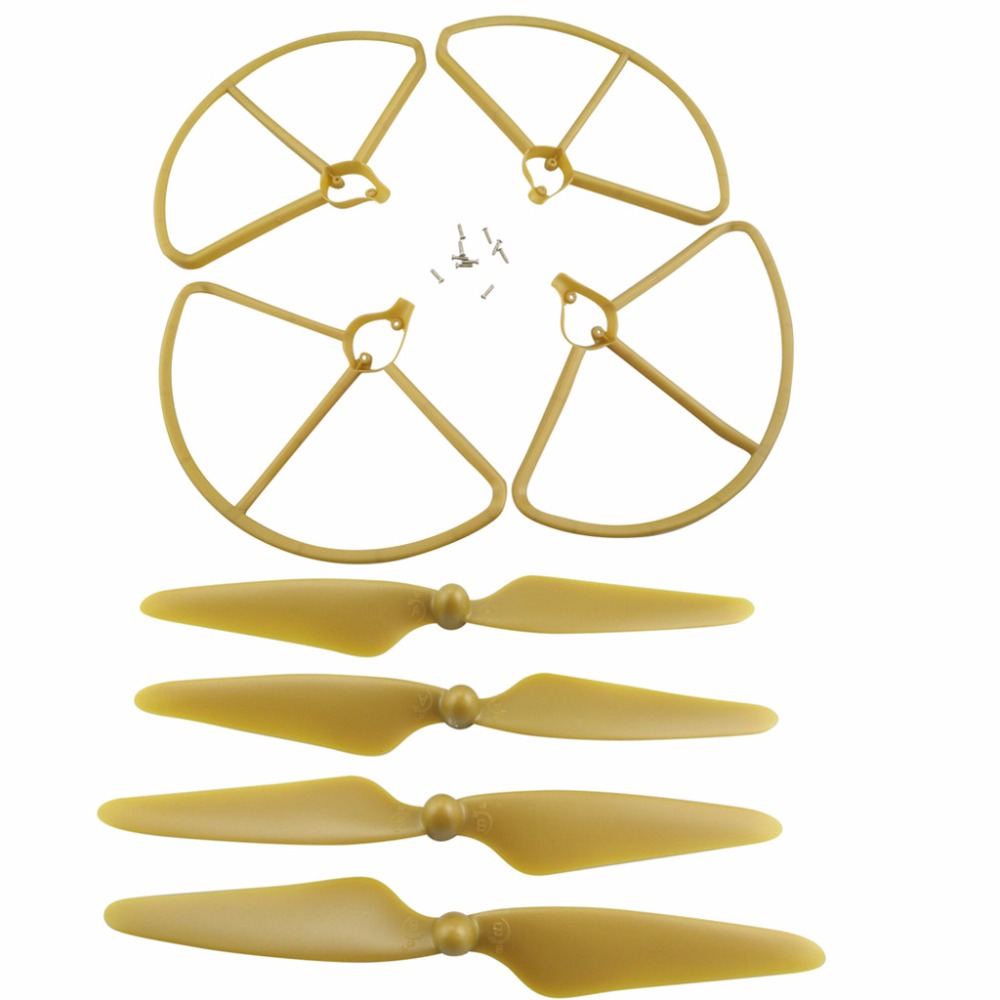 RC spare parts 4PCS CW/CCW paddles with 4PCS prop guards for Hubsan H501S H501A/H501C/H501M/H501S W/H501S pro Airplane Gold цена