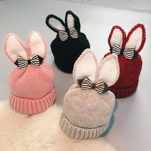 New Autumn Winter Baby Boys Girl Knitted Hat Soft Crochet Baby Bunny Hats Protector Cap Children Plus Cashmere Warm Knitted Hat