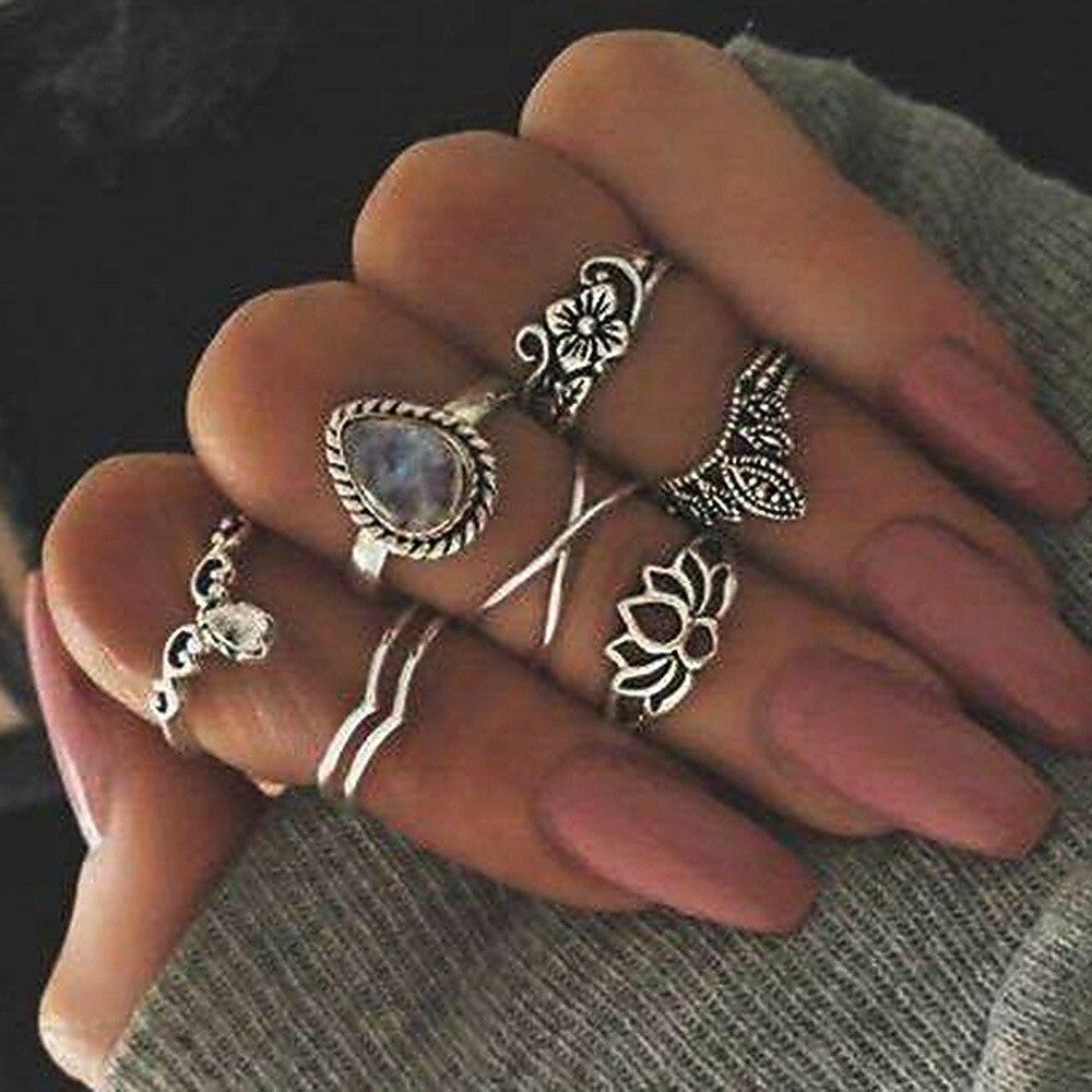 Bohemian Women Rings 7pcs/set Women Rings SetHollowed New Antique Flowers Gem Geometry Rings Accessories Wholesale Vintage 2017