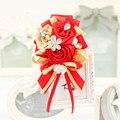4 pces ручной золотой красный свадебный жених корсажи и бутоньерки шелковый цветок бутоньерка для мужчин свадебные наручные корсаж