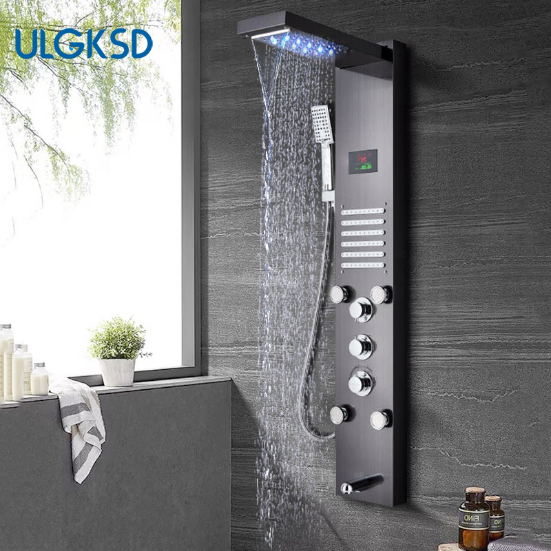 все цены на ULGKSD LED Rain&Waterfall Shower Faucet System Stainless Steel Massage Jets W/ Hand Shower Tub Spout Para Shower Column