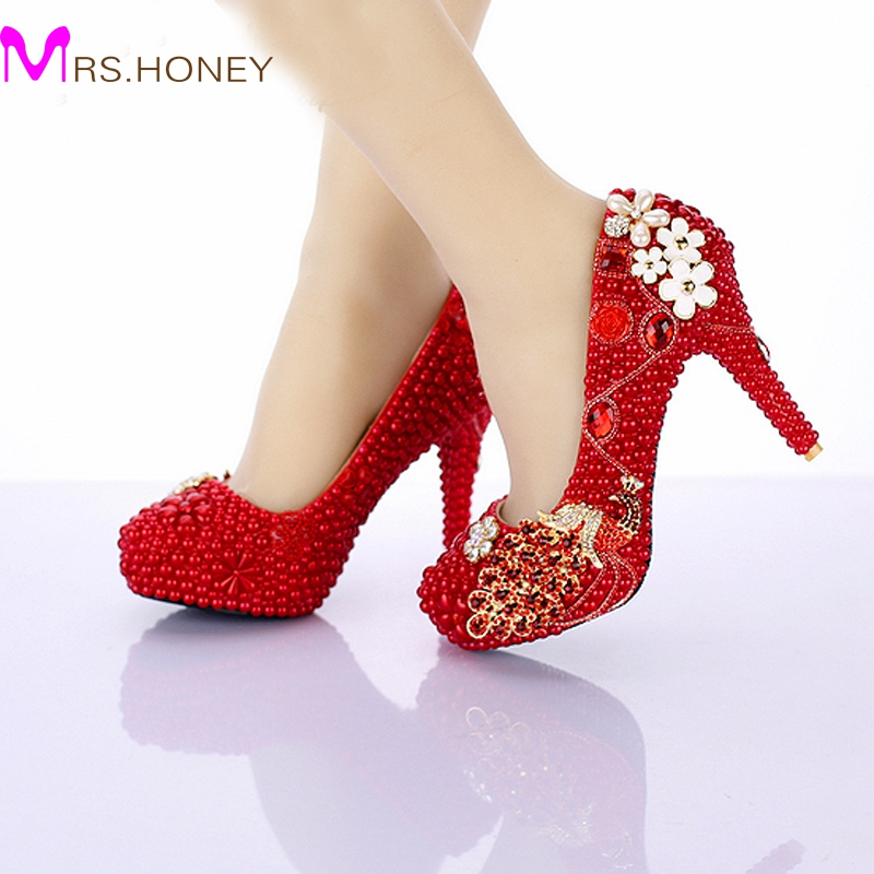 Aliexpress.com : Buy Red Pearl Bridal Shoes 2016 New Design ...