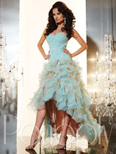 EP206 Charming Sweetheart Off the Shoulder Beaded Appliques High Low Blue font b Prom b font