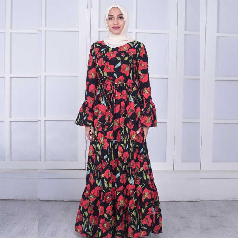 cfdfef0dc3a0d Plus Size Vestidos 2019 Abaya Dubai Kaftan Crepe Long Bandage Hijab Arabic  Muslim Dress Women Elbise Turkish Islamic Clothing