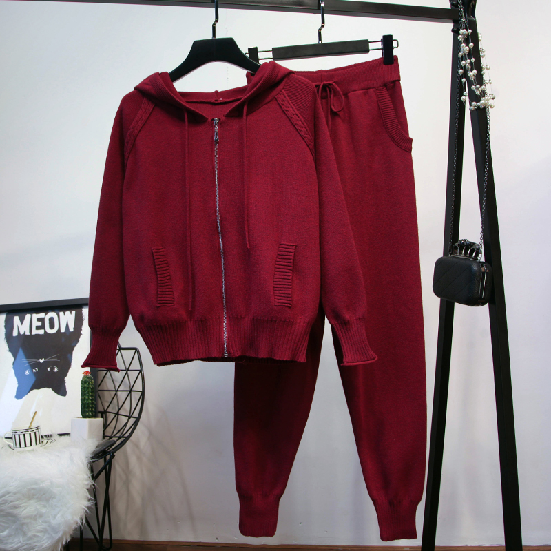 2018 Sale Full New Women's Knit Suit Fashion Hooded Loose Long-sleeved Sweater And Feet Pants 2 Piece Female Women Tracksuit