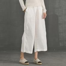 Johnature 2020 Mới Cotton Linen Mềm Mại Ống Rộng Nữ Quần Lưng Thun Cổ Chân Chiều Dài Đồng Màu Mùa Hè Rời Quần