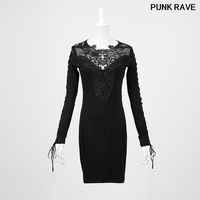 Fashion Hollowed Lace black sexy Dress popular Women Summer Party Slim Dress Punk Rave Q 210
