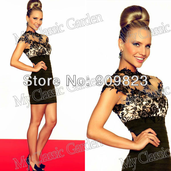 ded17aebe713 2013 High Collar Cap Sleeves Black Lace Beaded Natural Waist Tiered Mini  Short Party Dresses 2013 New Couture