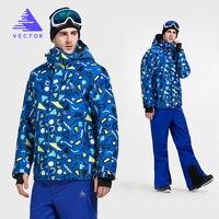 VECTOR Brand Ski Suit Men Warm Winter Windproof Waterproof Skiing Jacket and Pants Trousers Outdoor Snow Snowboard Set HXF70012