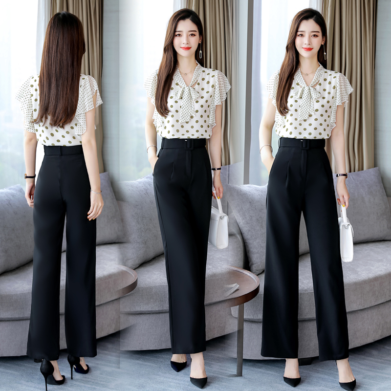 2019 Summer Women s Set 2 Pieces office lady Suits chiffon shirt Tops blouse wide leg